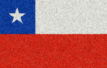 Illustration of a Chilean flag with a blossom pattern