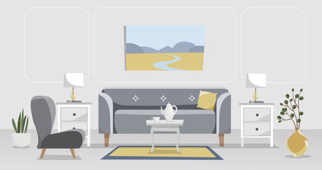 Living room elegant interior in grey and yellow. Sofa with table, nightstand, paintings, lamps, vase, flower in pot, carpet, porcelain set, soft chairs against a white wall. Flat cartoon illustration