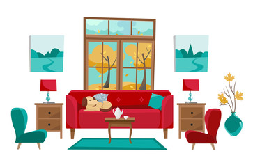 Living room in yellow red turquoise colors. Red sofa with table, nightstand, paintings, lamps, vase, carpet, porcelain set, soft chairs in room with large window. Outside autumn trees. Flat cartoon