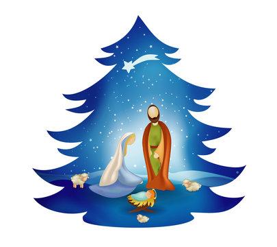 Christmas tree nativity scene with holy family on blue background. Bethlehem