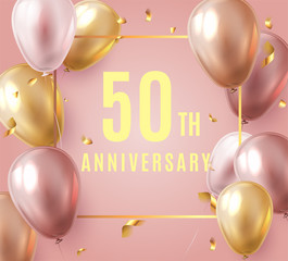 Vector stock elegant pink balloon happy Anniversary 50 year party celebration festival background. Poster template for Celebrating 50th anniversary event party. Vector illustration