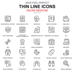 Thin line healthcare and medicine, medical equipment icons set for website and mobile site and apps. Contains such Icons as Ambulance. 48x48 Pixel Perfect. Linear pictogram pack. Vector illustration.