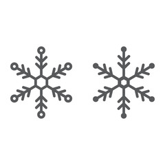 Snowflake line and glyph icon, snow and winter