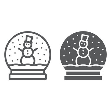 Snow globe line and glyph icon, christmas