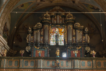 Kalwaria Zebrzydowska, Poland, 02 September 2018: Decorative organs and stained glass in the Passion-Marian Sanctuary of the Bernardine Fathers in the Zebrzydowska harpsment near Krakow