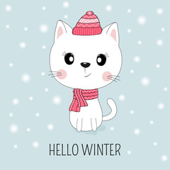 Cute white cat in hat with message Hello Winter.