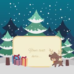 Christmas scene greeting with reindeer and custom text option