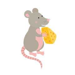 Cartoon hand-drawn character mouse with a piece of cheese