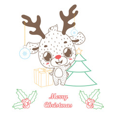 Cute reindeer greeting with outline style