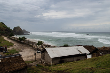 Seger Beach in Lombok on a cloudy and windy day.