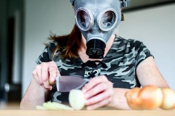 zwiebel schneiden mit gasmaske III
