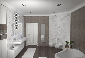 bathroom, interior visualization, 3D illustration