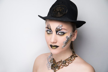 woman steam punk make up