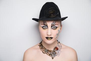 woman steam punk make up