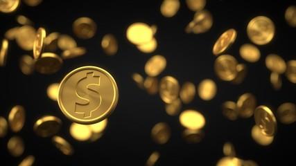 set of golden dollar coins. realistic 3d illustration.