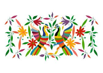 Etniczny meksykański gobelin z haftem w kwiaty i ręcznie robione zwierzęta w dżungli pawia. Naiwne dekoracje ludowe. styl łaciński, hiszpański, śródziemnomorski. Hafty tekstylne kolorowe elementy na białym tle - 231562976