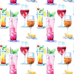 Seamless pattern of a cocktail with lemon and mint,red wine,aperol .Picture of a alcoholic drink.Watercolor hand drawn illustration.Isolated sketch.White background.