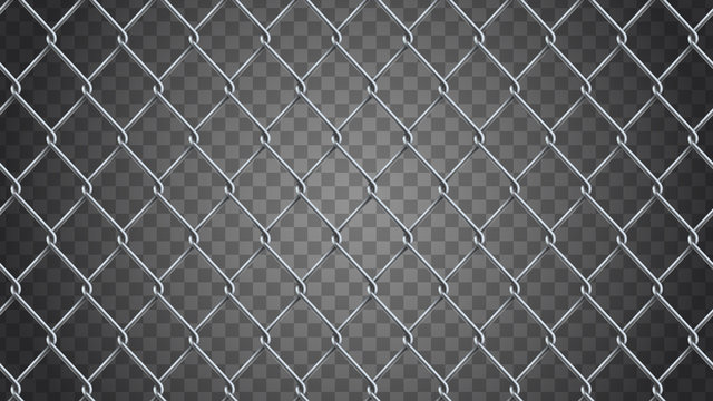 Seamless  realistic chain link fence background.  Vector mesh is