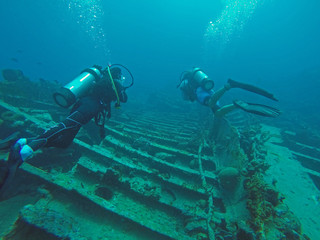Scuba Divers on wreck of RMS Rhone