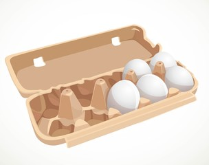 Chicken eggs in a cardboard tray isolated on a white background