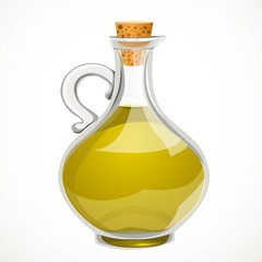 Vegetable olive oil in a transparent bottle with a closed cork stopper isolated on a white background