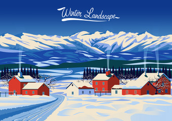 Winter rural landscape. Handmade drawing vector illustration. Pop art minimalist style. Retro poster. All objects are grouped and divided into layers. Flat design.