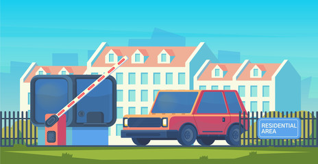 Entry through the barrier which is raised to pass the car. Toll gate with reception booth. Checkpoint to residential area. Vector flat style illustration.