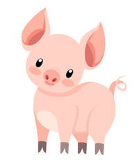 Cute pig standing. Cartoon character design. Flat little piggy. Vector illustration isolated on white background