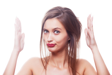 Beautiful brunette girl on white background