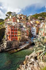 Fototapeta Riomaggiore. It is the most southern village of the five Cinque Terre towns. Liguria, Italy.