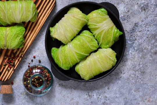 Savoy cabbage rolls with meat and rice. Vegan cabbage rolls.