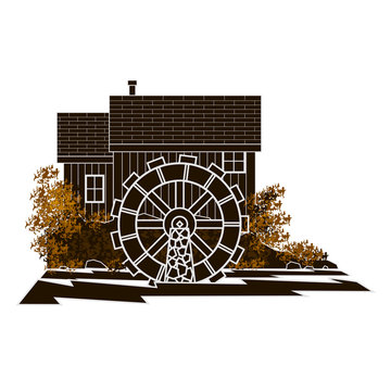 Graphic brown moncromatic image of a water mill  with a circular reversed out mill wheel on a rolling river side view.