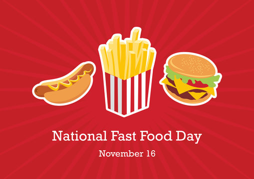 National Fast Food Day vector. Fast Food icon set. Hamburger, hot dog and French fries. American Food Feast. Important day
