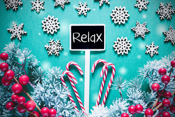 Black Christmas Sign,Lights, Frosty Look, Text Relax