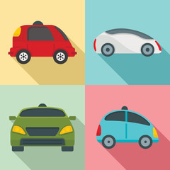 Driverless icon set. Flat set of driverless vector icons for web design