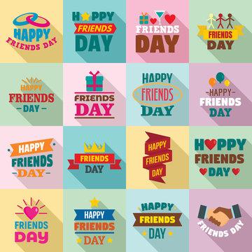 Friends day logo set. Flat set of friends day vector logo for web design