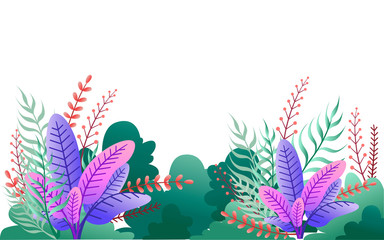 Green bushes and purple leaves. Floral garden illustration. Flat vector on white background