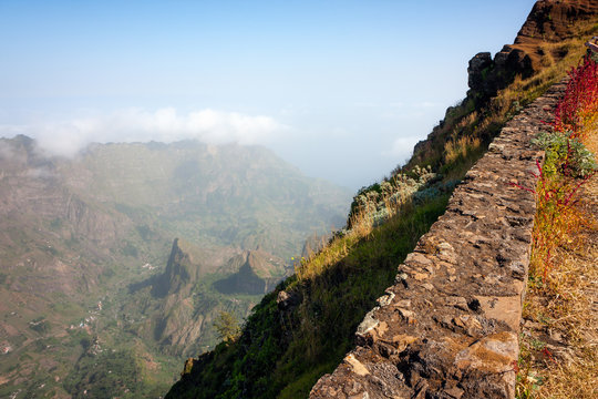 Cabo Verde landscape volcanic mountains of Santo Antao. Rocky edge by the road