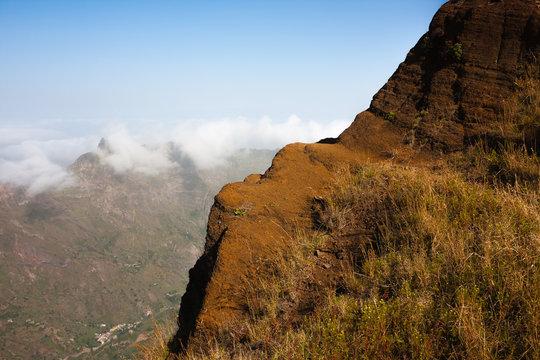 Cabo Verde landscape rocky edge volcanic mountains of Santo Antao