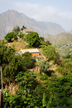 Cabo Verde  landscape houses in mountains. Santo Antao
