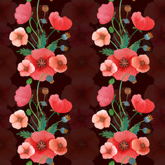wildflowers poppies watercolor pattern set illustration seamless