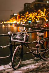 Aluminium Prints Bicycle Bicycles Parked Along a Bridge Over the Canals of Amsterdam