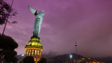 Night view of Virgen de El Panecillo or Virgen de Legarda. It is located on the top of Panecillo hill near the historical center of the city of Quito. Ecuador