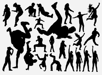 Breakdance and hiphop training silhouette for symbol, logo, web icon, mascot, game elements, mascot, sign, sticker design, or any design you want. Easy to use.