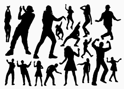 Dancer and rapper man and woman silhouette for symbol, logo, web icon, mascot, game elements, mascot, sign, sticker design, or any design you want. Easy to use.
