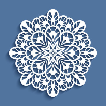 Round lace doily, cutout paper pattern, template for laser cutting