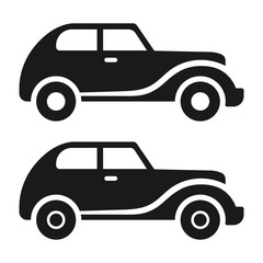 Simple, flat, vintage car icon. Black silhouette design. Two variations. Isolated on white