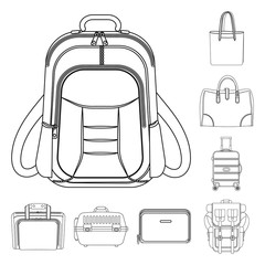 Isolated object of suitcase and baggage icon. Set of suitcase and journey vector icon for stock.