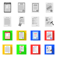 Vector design of form and document icon. Set of form and mark vector icon for stock.