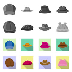 Isolated object of headgear and cap icon. Set of headgear and accessory stock symbol for web.